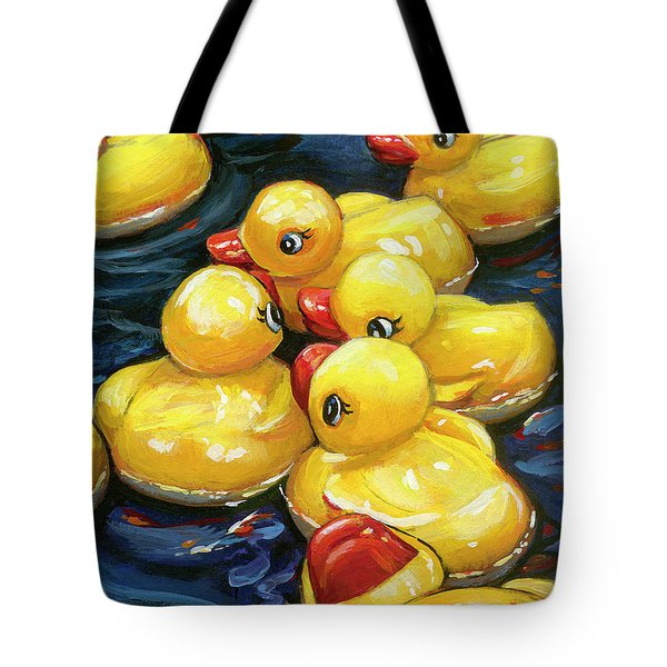 Tote Bag featuring the painting When Ducks Gossip by Lesley Spanos