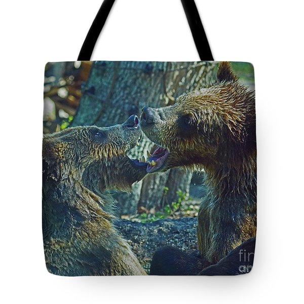 When Grizzlies Play II Tote Bag
