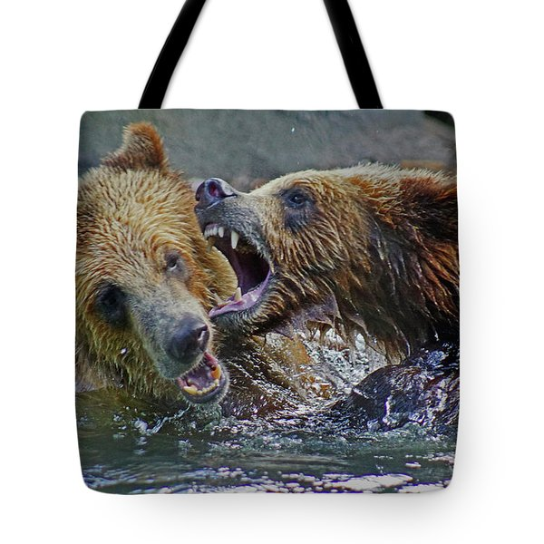When Grizzlies Play Tote Bag by Larry Nieland