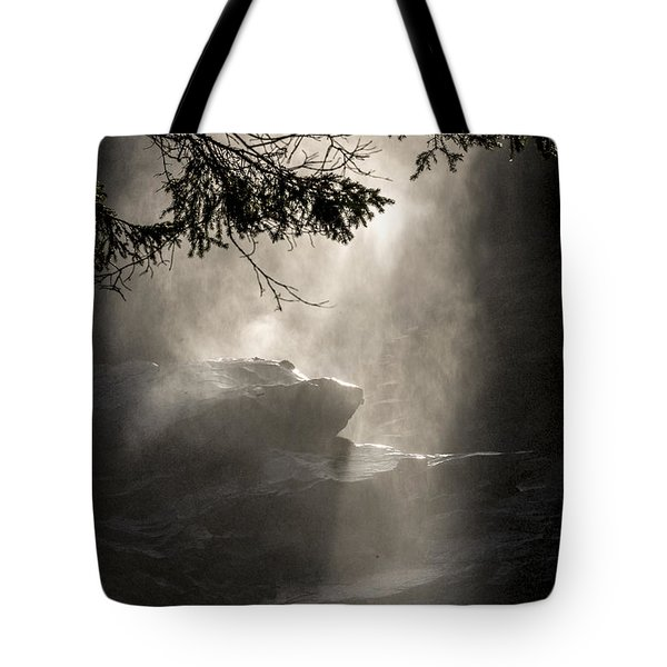 When Sunlight And Water Spray Meet Tote Bag