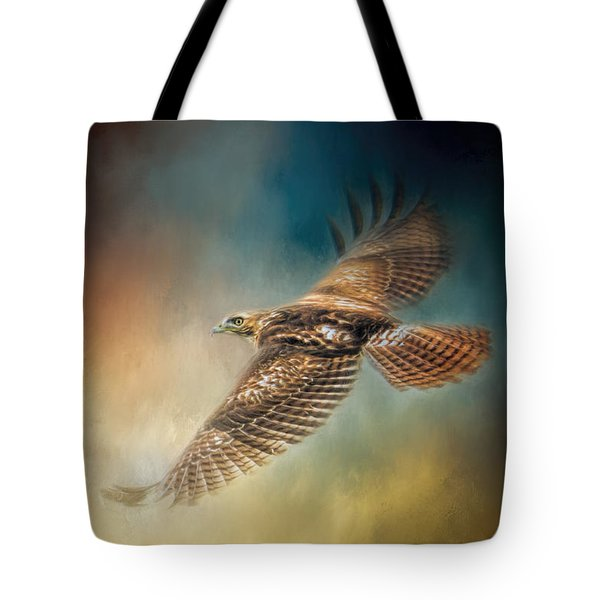 When The Redtail Flies At Sunset Hawk Art Tote Bag