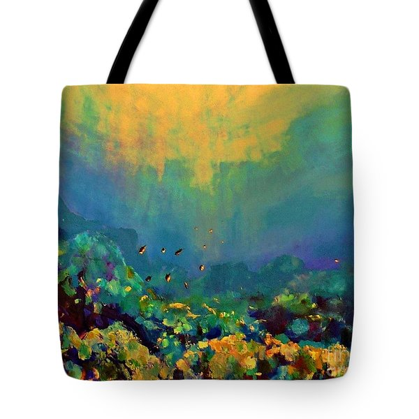 Tote Bag featuring the painting When The Sun Is Looking Into The Sea by AmaS Art