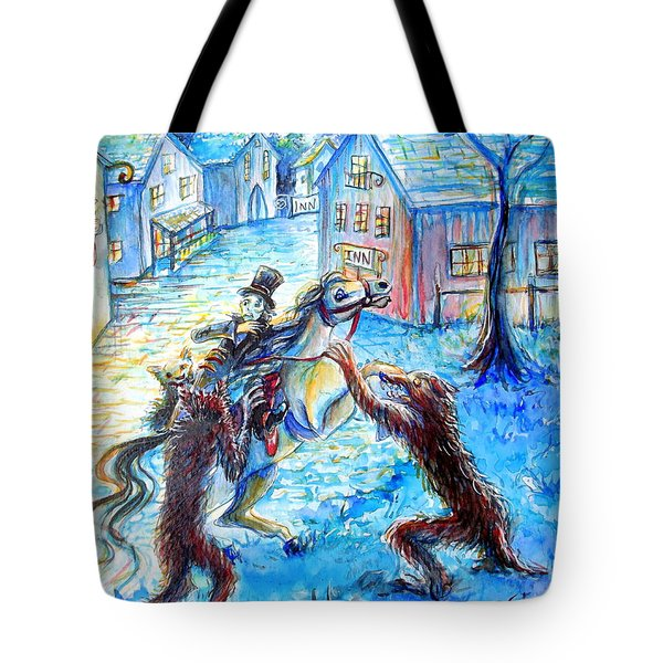 Tote Bag featuring the painting When Werewolves Attack by Heather Calderon
