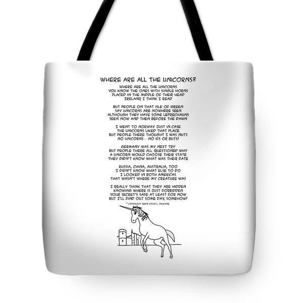 Tote Bag featuring the drawing Where Are All The Unicorns by John Haldane