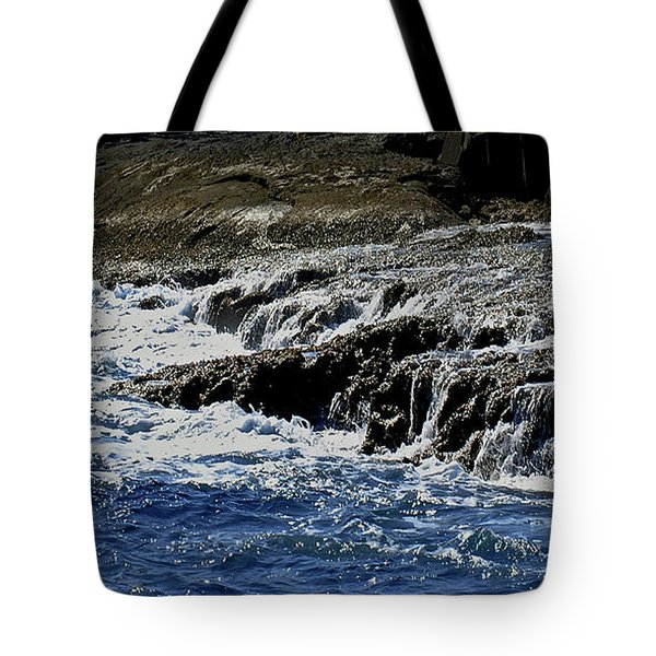 Where Sea And Shore Become One Tote Bag by DigiArt Diaries by Vicky B Fuller