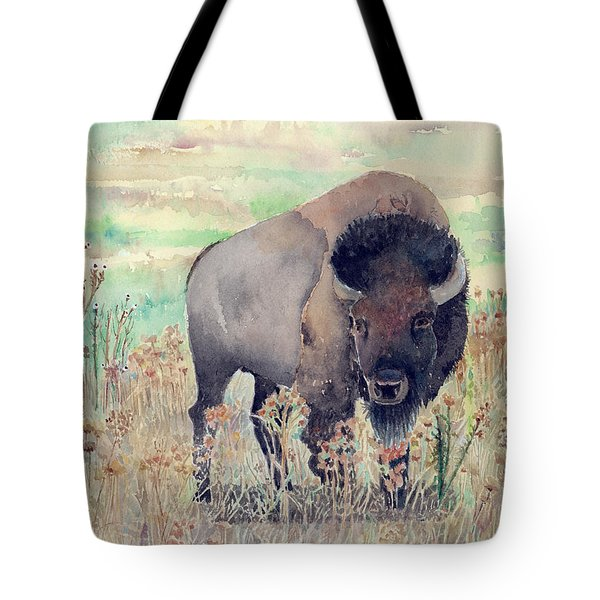 Where The Buffalo Roams Tote Bag by Arline Wagner