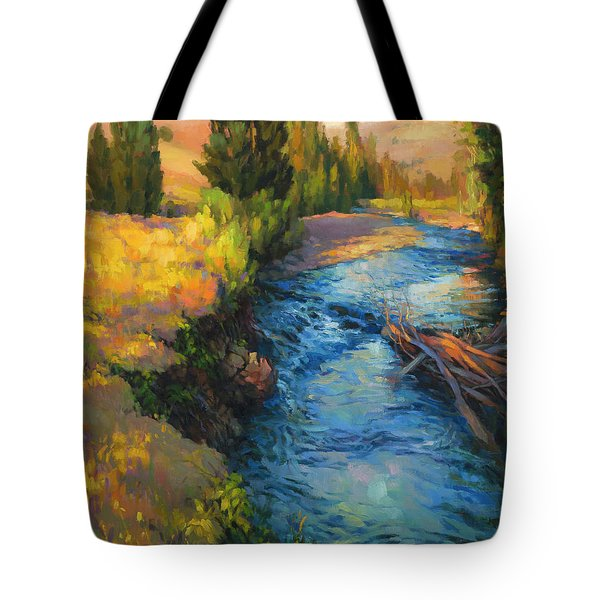 Tote Bag featuring the painting Where The River Bends by Steve Henderson
