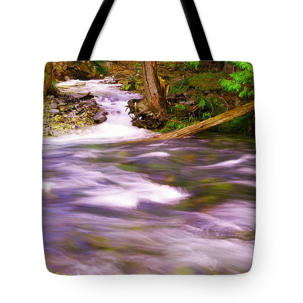 Tote Bag featuring the photograph Where The Stream Meets The River by Jeff Swan
