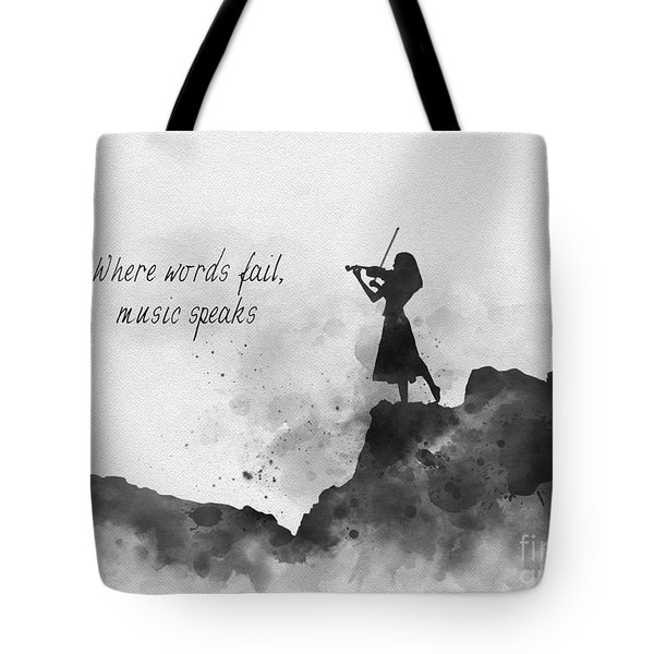 Where Words Fail Music Speaks Black And White Tote Bag