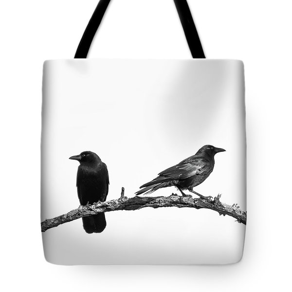 Which Way Two Black Crows On White Square Tote Bag