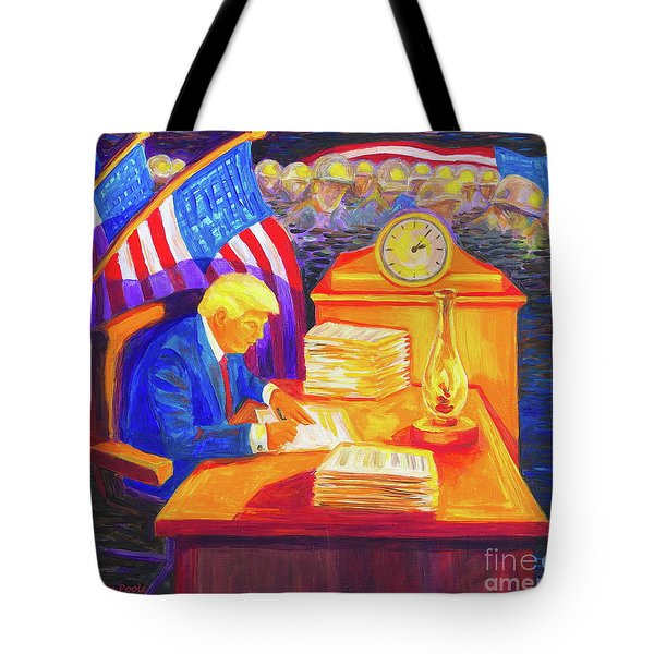 Tote Bag featuring the painting While America Sleeps - President Donald Trump Working At His Desk By Bertram Poole by Thomas Bertram POOLE