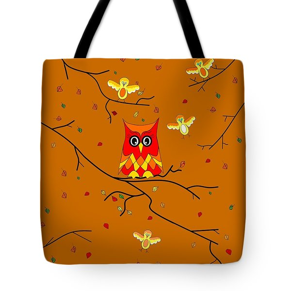 Whimsical Autumn Colors - Birds Owls Tote Bag