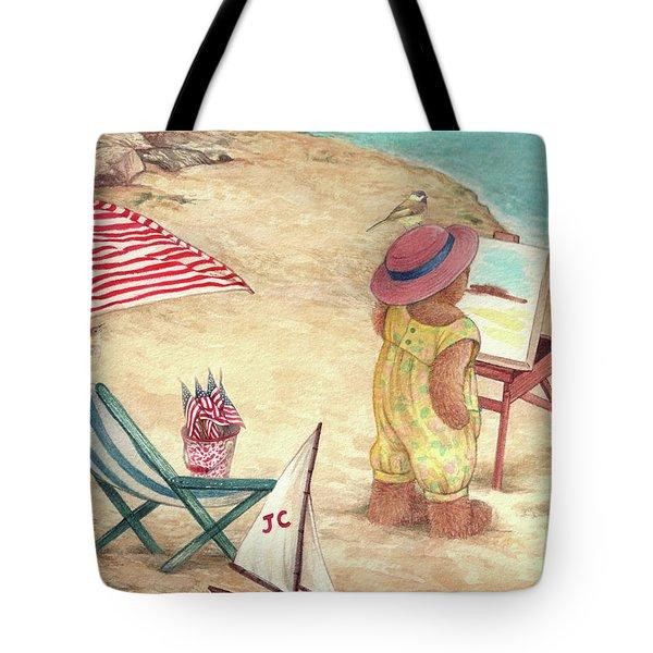 Whimsical Bear On The Beach Tote Bag