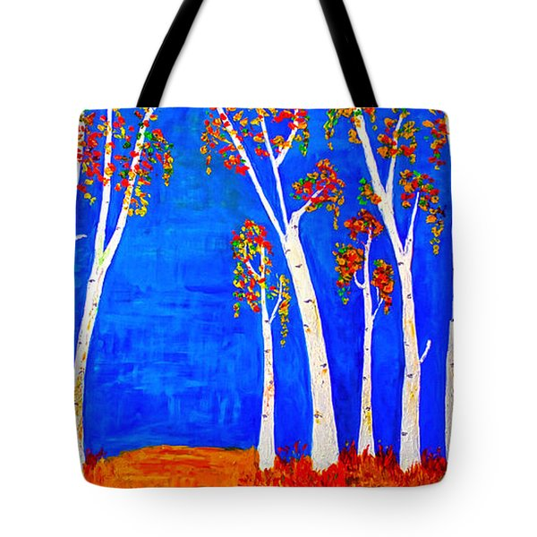 Whimsical Birch Trees Tote Bag