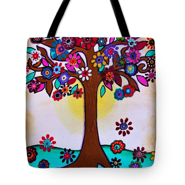 Tote Bag featuring the painting Whimsical Blooming Tree by Pristine Cartera Turkus