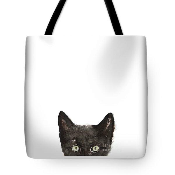 Whimsical Cat Poster, Funny Animal Black Cat Drawing, Peeking Cat Art Print, Animals Painting Tote Bag by Joanna Szmerdt