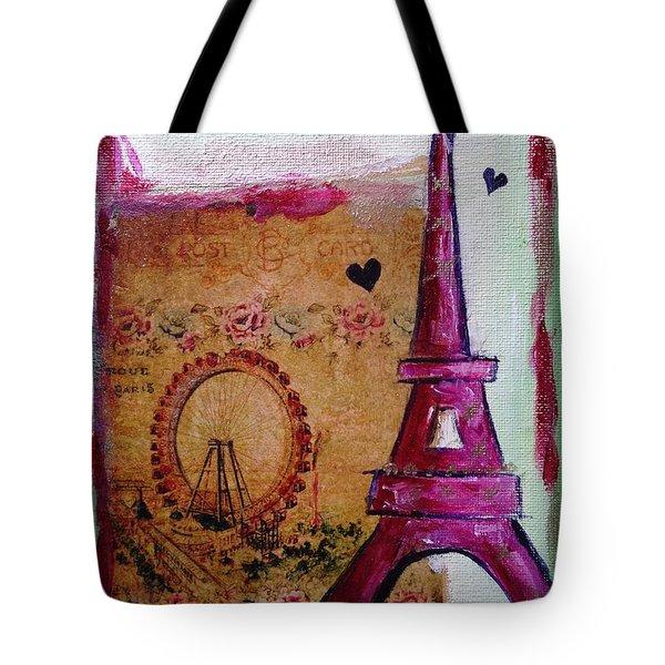Whimsical Eiffel Tower Ferris Wheel Tote Bag