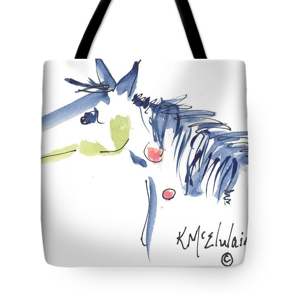 Whimsical Horse Head Watercolor Painting By Kmcelwaine Tote Bag