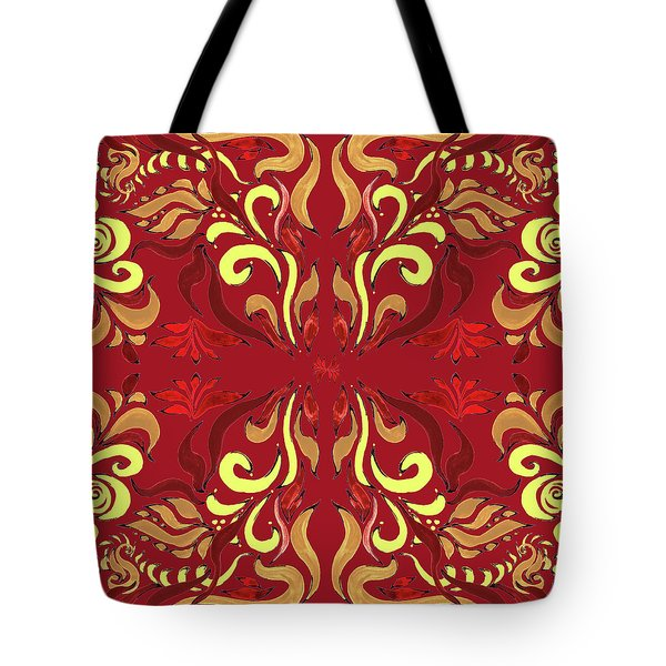 Whimsical Organic Pattern In Yellow And Red II Tote Bag