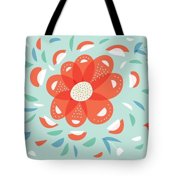Whimsical Red Flower Tote Bag