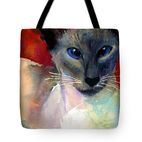 Whimsical Siamese Cat Painting Tote Bag