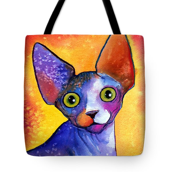 Whimsical Sphynx Cat Painting Tote Bag