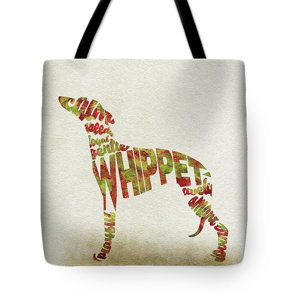 Tote Bag featuring the painting Whippet Watercolor Painting / Typographic Art by Inspirowl Design