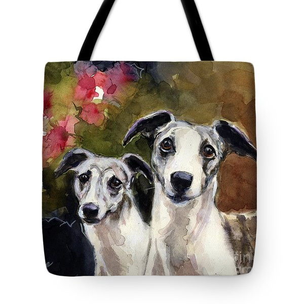 Whippets Tote Bag by Molly Poole