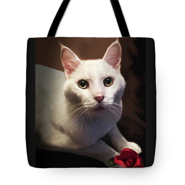 Whiskers And Rose Tote Bag