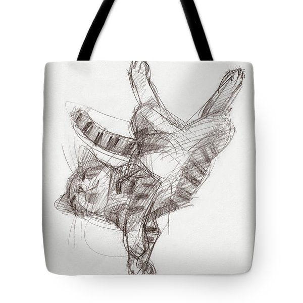 Tote Bag featuring the drawing Yoga Cat by Judith Kunzle