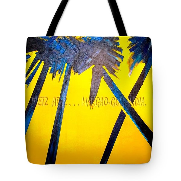 Tote Bag featuring the painting Whispering Palms Of Goa by Piety Dsilva