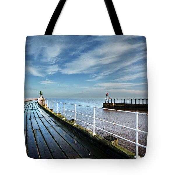 Whitby Piers Tote Bag