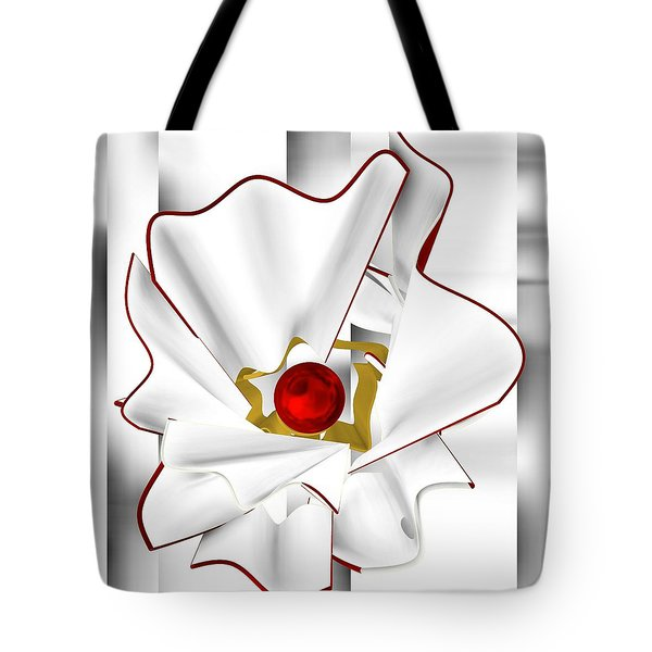 White Abstract Flower Tote Bag