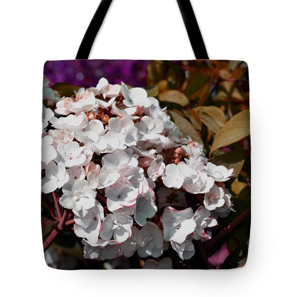 Tote Bag featuring the painting White Abstract Flower B2516 by Mas Art Studio