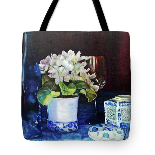 Tote Bag featuring the painting White African Violets by Marlene Book