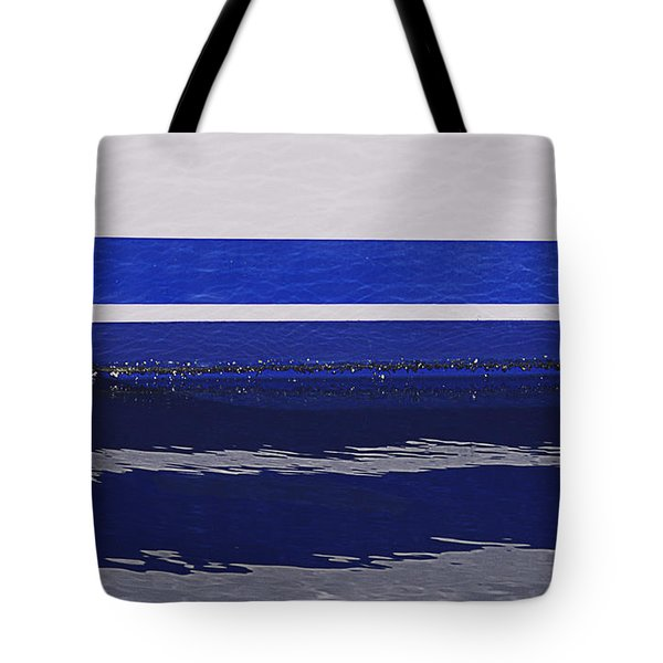 White And Blue Boat Symmetry Tote Bag by Danuta Bennett