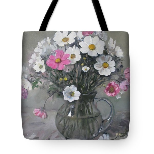 White And Pink Cosmos Bouquet In Water Pitcher No. 2 Tote Bag