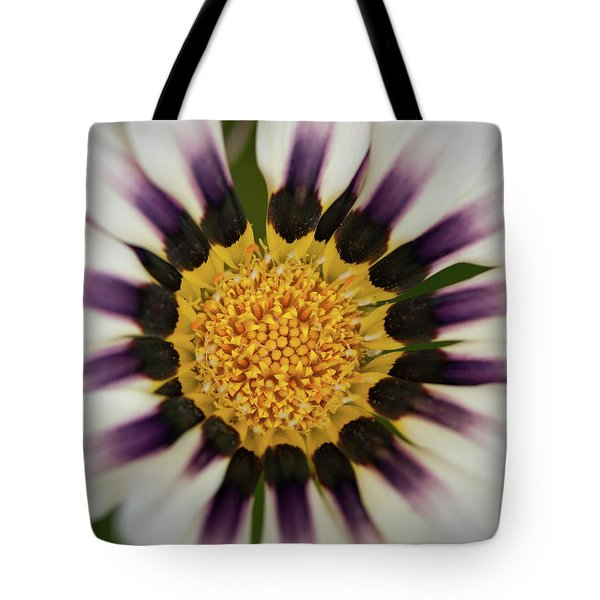 White And Purple Zinnia With Yellow Tote Bag