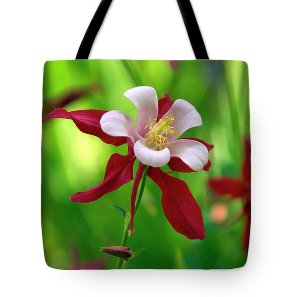 White And Red Columbine  Tote Bag by James Steele