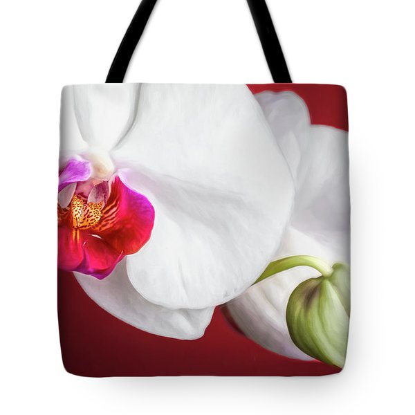 White And Red Orchids Tote Bag