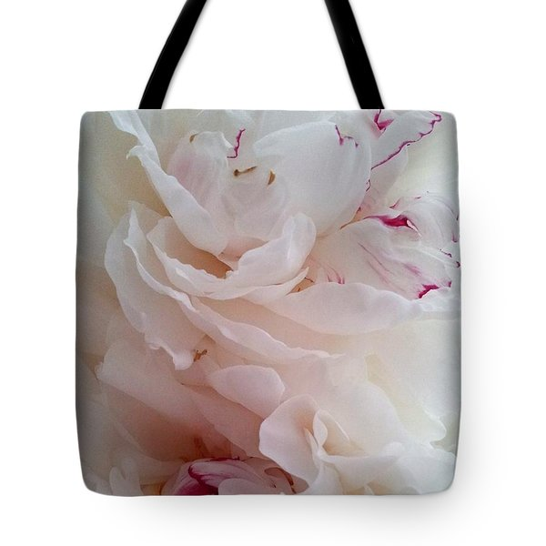 White And Red Peonies Tote Bag by Margaret Newcomb