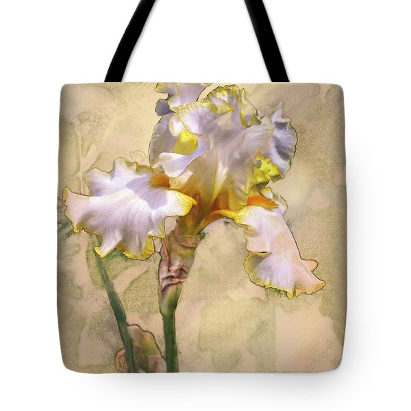 White And Yellow Iris Tote Bag
