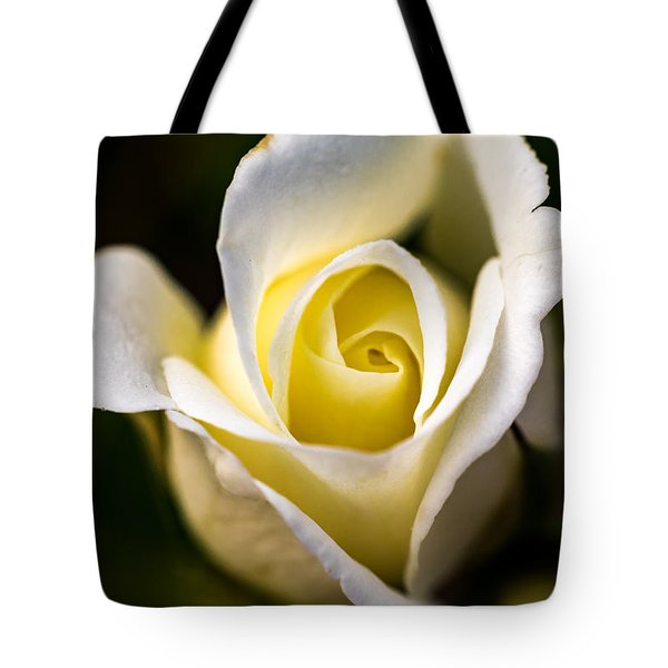 Tote Bag featuring the photograph White And Yellow Rose by Jay Stockhaus