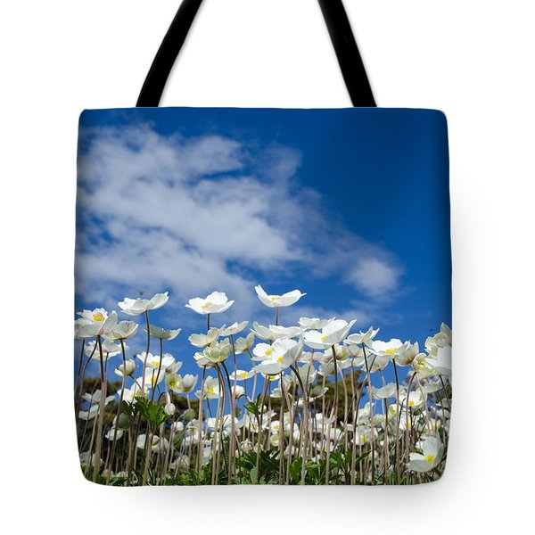 White Anemones At Blue Sky Tote Bag