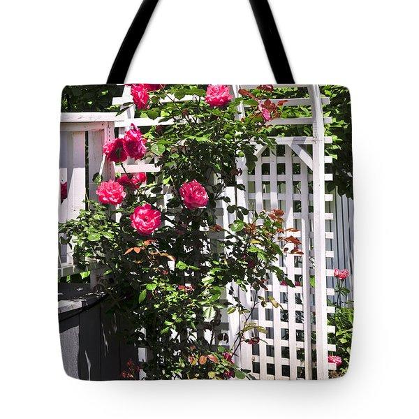 White Arbor In A Garden Tote Bag by Elena Elisseeva