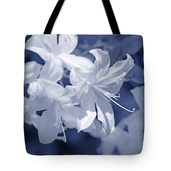 Tote Bag featuring the photograph White Azalea Flowers Blues by Jennie Marie Schell