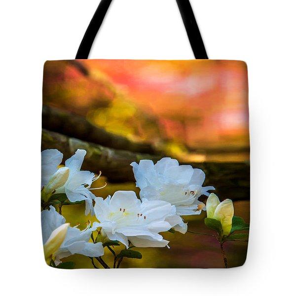 White Azaleas In The Garden Tote Bag