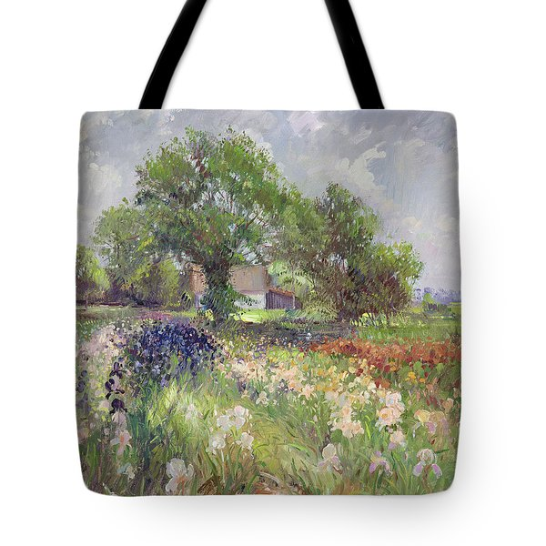 White Barn And Iris Field Tote Bag