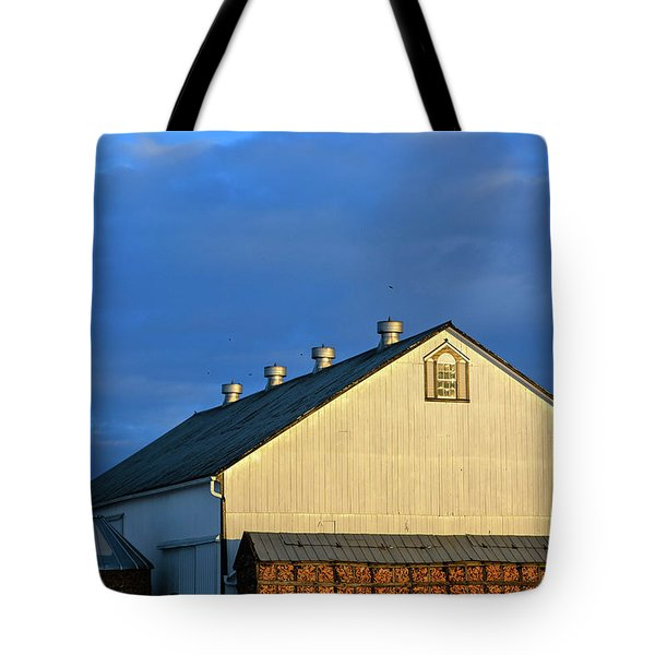 White Barn At Golden Hour Tote Bag
