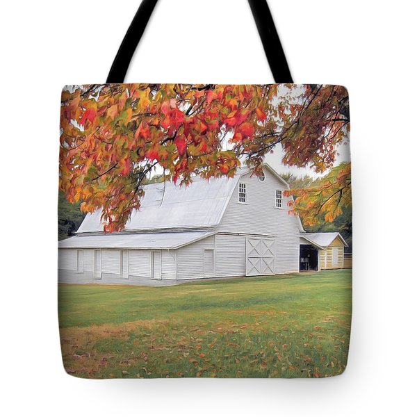 White Barn In Autumn Tote Bag